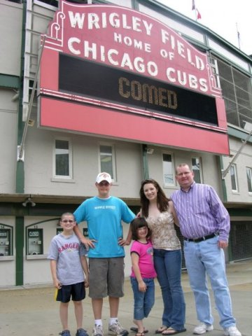 With Keaton, Brady, Kendall and Tamie outside Wrigley Field in 2006.