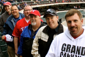 With friends at last night's Rangers game in Arlington, Texas.