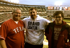 With my friend Steve Holladay and his son, Griffin, at a Texas Rangers game this week.